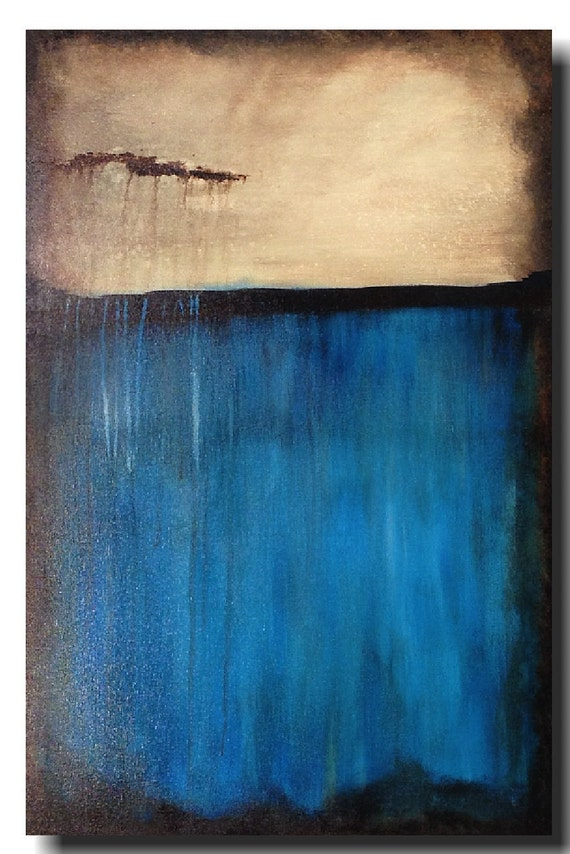 Original Large oil painting - 24 X 36 Inches-by Artist JMJartstudio- Floating By-Wall art-Beach decor - Blue painting-Oil painting