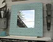 Tin Ceiling Tile Mirror. Framed ceiling tin. Turquoise Aqua Mirror. Antique Architectural salvage. Bathroom wall mirror. Beach decor.