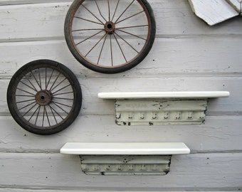TWO Antique ceiling tin wall shelves white.  Old Architectural salvage.  Bathroom kitchen shelves. Shabby.  Floating shelf.  Vintage shelf.