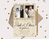 Golden Anniversary Party Invitation ·  50 Years · include 2 photos · printable cards