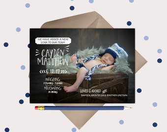 Baby Announcement Photo Cards - Added a Star to our Team - printable birth announcement