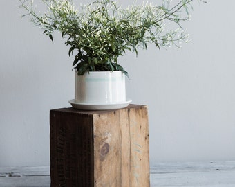 Mint Striped Porcelain Planter with Drainage - Extra Large