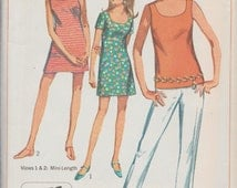 Simplicity 7702 / Vintage 60s Sewing Pattern / Pants Shorts Dress top / Size 14 Bust 36