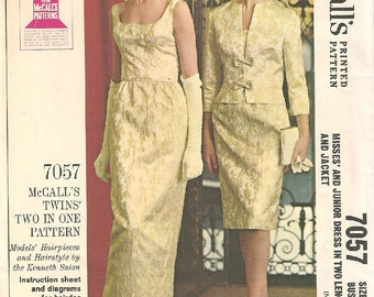 McCalls 7057 / Vintage 60s Sewing Pattern / Evening Dress And Jacket / Size 16 Bust 36