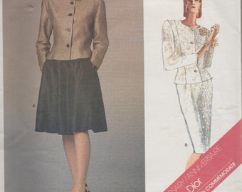 Vogue 1919 / Paris Original/  Vintage Designer Sewing Pattern By Christian Dior / Jacket Skirt Suit  / Size 12 Bust 34