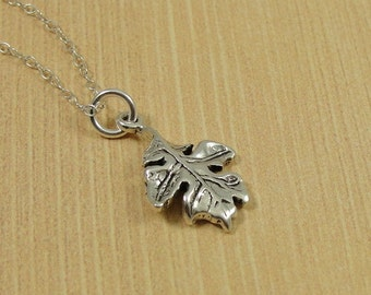 Oak Leaf Necklace, Sterling Silver Oak Leaf Charm on a Silver Cable Chain