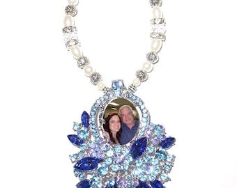 Wedding Bouquet Memorial Photo Charm Light Blue Dark Blue Crystal Gems Pearls Silver Tibetan Beads - FREE SHIPPING