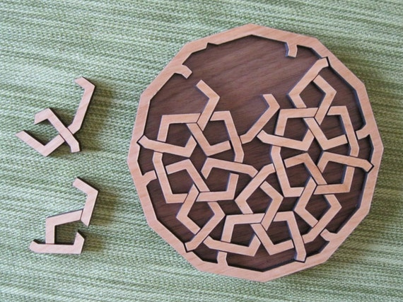 Interlace Diamond Solid Red Alder and Walnut Wood Puzzle