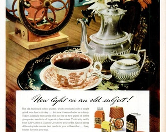1947 A&P Coffee Eight O'Clock Print Advertisement Ad Custom Ground Barista Breakfast Diner Restaurant Dining Kitchen Wall Art Home Decor