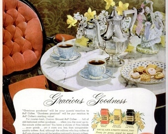 1953 A&P Coffee and Emerson Television Advertisements Print Poster Ad Barista Shoppe Restaurant Diner Wall Art Home Decor