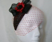 Black and Scarlet Red Veiled Crystal Studded Teardrop Fascinator Percher Mini Hat Gothic Halloween- Made To Order