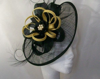 Black Sinamay Saucer Curl Feather and Yellow Loop & Pearl Cecily Fascinator Hat - Custom Made to Order