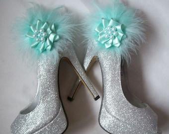 Aquamarine Blue Feather and Pearl Rhinestone Glamorous Shoe Clips Bridal Wedding Prom Races - Custom Made to Order