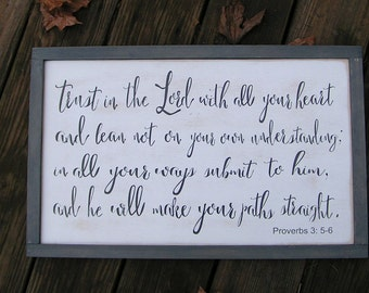 Scripture Wall Sign Bible Verse Proverbs 3.  Trust in the Lord with all your heart custom religious wall art