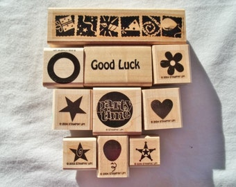 Stampin UP   10 Wood Mounted Rubber Stamps  in Original Clamshell