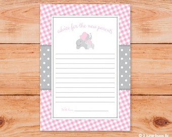 Pink Elephant Mommy Advice Cards - Parents Words of Wisdom - Elephant Baby Shower - Printable INSTANT DOWNLOAD