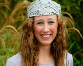 Extra Wide Bandana Headband Silver Gray Bandanna Headscarf 15 Inch Wide Hair Scarf Alopecia Headwrap Hair Loss Headcovering (#2013) S M L