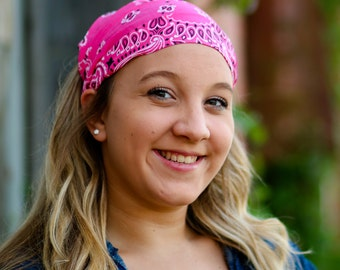 Bandanna Hair Scarf, Hot Pink Bandanna, Hair Loss Headscarves, Extra Wide Head Scarf, Bright Pink Bandana Head Cover (#2006) S M L