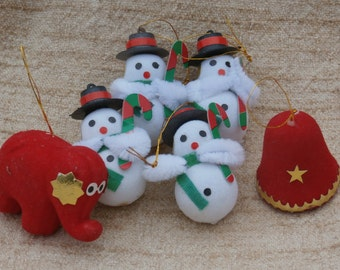 6 Vintage 1980s Flocked Ornaments, Snowman X 4, Bell, and Elephant