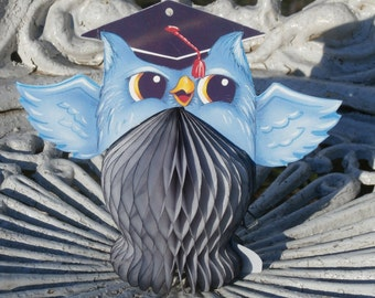 Small Vintage Honeycomb Tissue Paper Owl for Graduation or Decorating, Made in Denmark