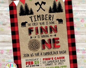 Lumberjack Birthday Party Invite, Boys Birthday Invite, Woodland Lumberjack Invite, Buffalo Plaid, Printable Invitation, Rustic Axe