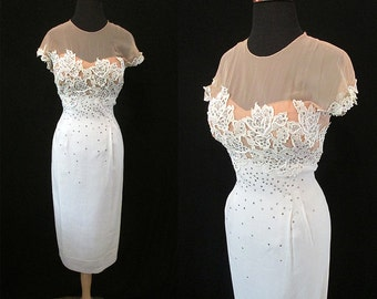 "Gorgeous 1950's  ""Peggy Hunt""  Designer White Linen Cocktail Party Wedding Dress w/ Elusion Bodice & Rhinestones Size-Large"