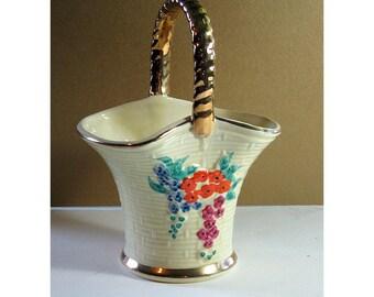 Keele Street Porcelain Basket , Vintage China Floral Basket , Porcelain Vintage Basket, Keele Pottery Candy Basket