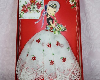 PAPER DOLL HANDKERCHIEF Embroidered Lace Lady Christmas Card Red Box Treasure Master Vintage Hankie Switzerland Hanky Tag Nos Floral Flower