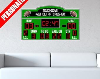 Personalized Custom Scoreboard Football Wall Decal Sticker Removable Wall Art Sports Score Board
