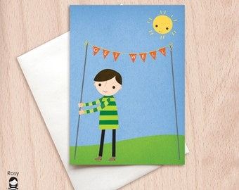 Get Well - Boy with Flags - Get Well Greeting Card