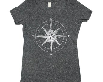 Womens Dark Grey Compass Tshirt - Compass Scoop Neck - ECO Triblend - Small, Medium, Large, XL