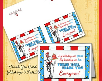 Dr. Seuss Thank You Card / Cat in the Hat with Birthday Cake / Invitation, Cupcake Wrappers & Banner Available / DIY Printable Flag Pennant