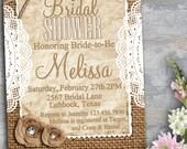 Bridal Shower Invitation Rustic Bridal Shower Invitation 5x7 PDF DIY Printable Burlap Invitation Shabby Chic Bridal Shower Doily Invite