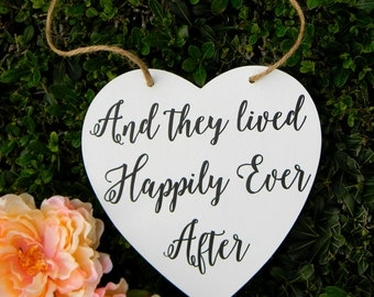 And They Lived Happily Ever After Sign Rustic Wood White Wedding Sign Wood Heart Flower Girl Sign Ring Bearer Sign Shabby Chic Wedding