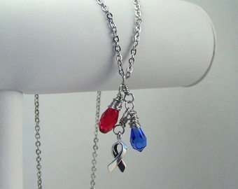 Red and Blue Awareness Necklace Congenital Heart Defect Disease HLHS Hypoplastic Left Heart Syndrome Noonan Syndrome Pulmonary Fibrosis SADS