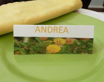 Place Cards/ Name Cards/ Food Tents - Bright Yellow Marigold  Flower - Set of 6