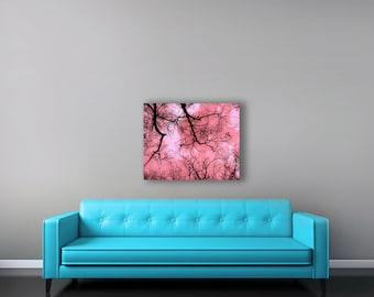 Pink Canvas Art, Girl Nursery Decor, Large Canvas Wall Art, Black, Pink, Moon Stars, Surreal, Woodland