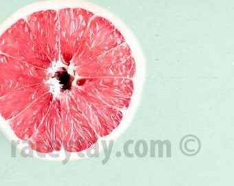 Food Photography, Pink Grapefruit, Mint Green, Pink, Kitchen Print, Shabby Chic Kitchen Wall Art, Grapefruit Art