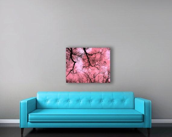 Pink Canvas Art, Girl Nursery Decor, Large Canvas Wall Art, Black, Pink, Moon Stars, Surreal, Woodland