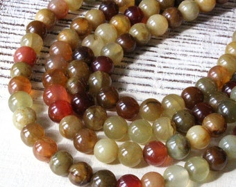 8mm Round Gemstone - Mala Bead Supply - Jewelry Making Supplies - 8mm Round Soo Chow Jade (16 Inch Strand ~ 52 Beads)