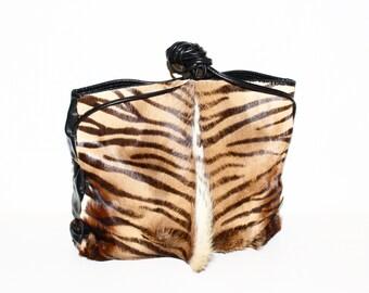 HALSTON Vintage Tote Handbag Pony Hair Tiger Stripe Black Leather - AUTHENTIC -