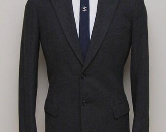 1940s men's charcoal wool blazer/ 40s men's charcoal blazer/ Sampeck