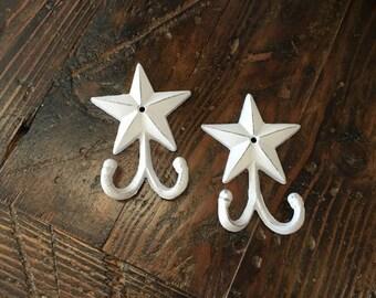 Set of 2 - Star Hooks - Cast Iron - White Distressed