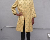 Vintage Lilli Ann 1960's Saffron Yellow Brocade Floral Chinoiserie Asian Princess Swing Coat S
