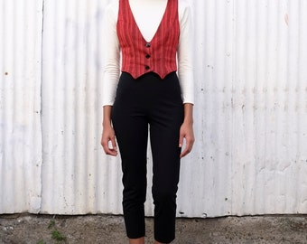 Vintage Guatemalan 1990's Red Patterned Cotton Woven Crop Tailored Ethnic Vest S