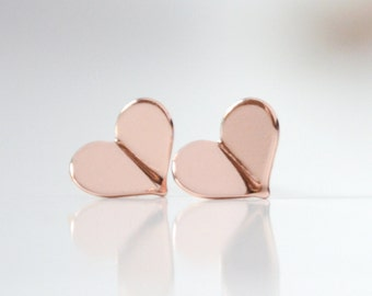 Tiny Rose Gold Heart Stud Earrings - Pink Gold Folded Heart Earrings - Valentines Day Origami Jewelry - Origami Earrings - Hook & Matter