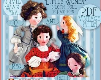 LITTLE WOMEN Cloth DOLL Vintage epattern Civil War Era 4 Dolls Clothing Trunks Alcott Jo Meg Beth Amy Pdf pattern stuffed rag doll download