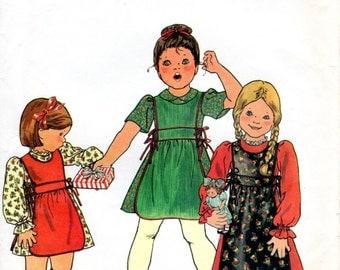 1970s Girls Dress & Apron - Vintage Pattern Butterick 5660 - Size 4