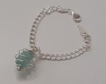 Aqua Blue Caged Seaglass Silver Bracelet