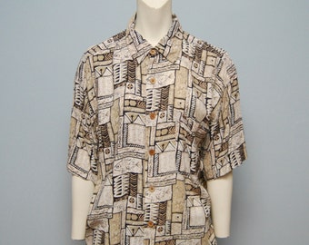 Vintage 1990's Men's Button Down Short Sleeve Shirt - Neutral Aztec Print